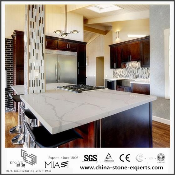 Beautiful Calacatta White Quartz Kitchen Countertops For Home  Decoration(YQW QC0629030)