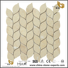 Leaf Shaped Mosaic For Backsplash Tile Stone Beige Marble Mosaic