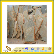 Yellow Honed Crazy Wall Random Stone Slate for Outdoor (YQA-S1076)