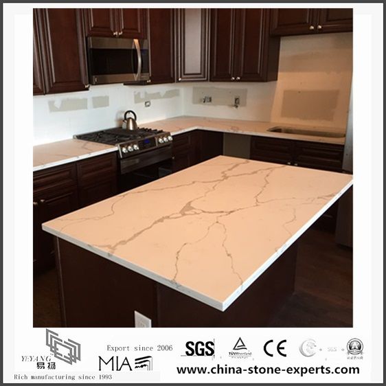 Custom White Calacatta Quartz Kitchen Countertops(YQW QC0629020)