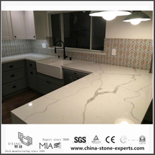Superbe Diy Prefab White Calacatta Quartz Kitchen Countertops(YQW QC0629014)