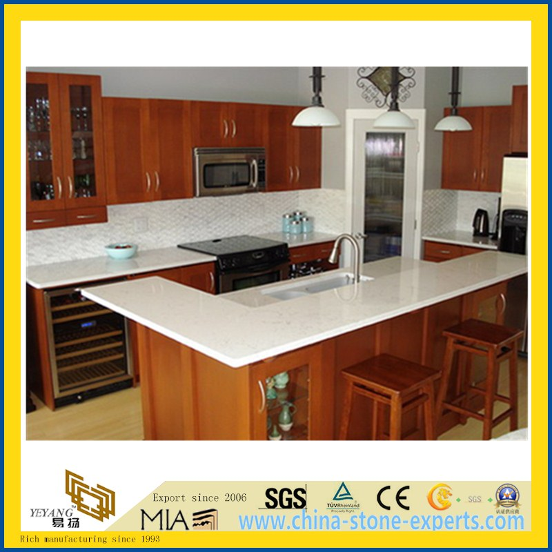 pure white artificial quartz stone countertop for kitchen and