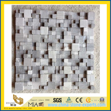 Honed Gray Small Square Stone Mosaic Tile for Outdoor Wall