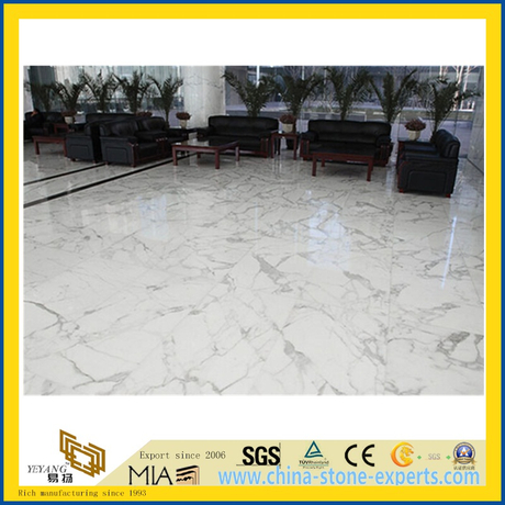 guangxi white marble polished stone tile for flooring