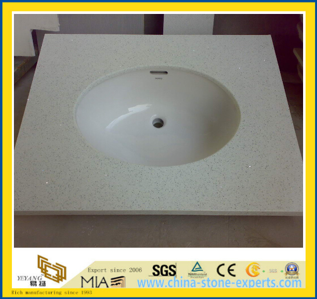 Prefab Sparkle White Quartz Bathroom Vanity Tops YyM