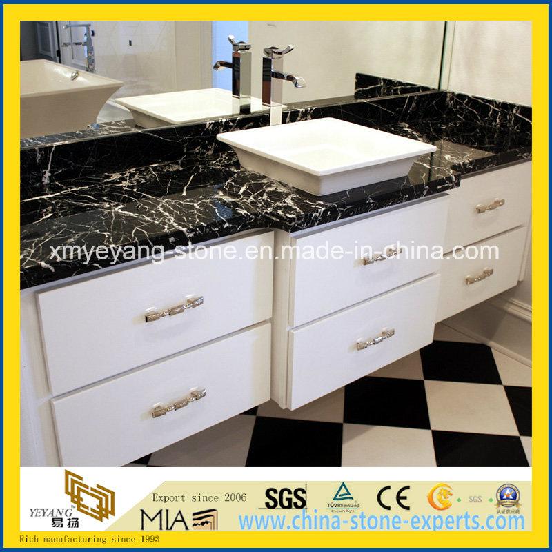 black marquina marble vanity top for hotel bathroom